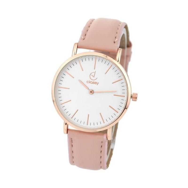 Stylové dámské hodinky menšího designu ciferníku a růžovým řemínkem 7f290bbe42