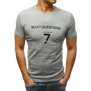 Šedé tričko s krátkým rukávem a nápisem