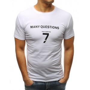 Moderní jednobarevné tričko v bílé barvě s nápisem