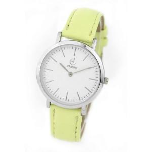 Náramkové dámské hodinky se žlutým páskem a stříbrným ciferníkem