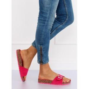 Fialové dámské pantofle na korkové podrážce