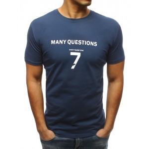 Levné pánské tričko s potiskem v modré barvě