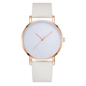 Bílé dámské náramkové hodinky se zlatým ciferníkem