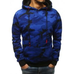 Maskáčová modrá pánská bunda s kapucí