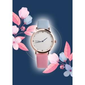 Originální dámské hodinky s dvoubarevným modro růžovým řemínkem