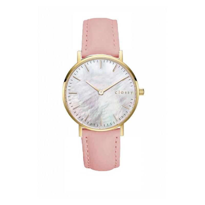 cb71715b85b Náramkové dámské hodinky s růžovým řemínkem a zlatým ciferníkem