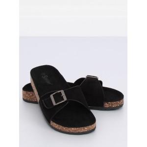 Klasické korkové pantofle dámské černé barvy