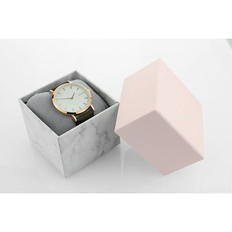 2c6b1e7cd07 Moderní dámské hodinky se zlatým ciferníkem a zeleným řemínkem