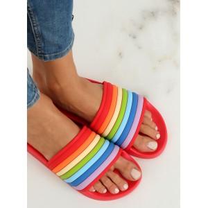 Pohodlné dámské gumové pantofle v duhových barvách