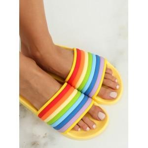 Dámské gumové pantofle na léto žluté barvy