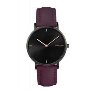 Elegantní dámské hodinky Classy černé s fialovým řemínkem