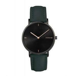 Sportovní dámské hodinky s černým ciferníkem a zeleným řemínkem