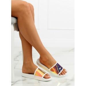 Dámské gumové pantofle na léto bílé barvy