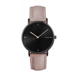 Moderní dámské hodinky s černým ciferníkem a růžovým řemínkem
