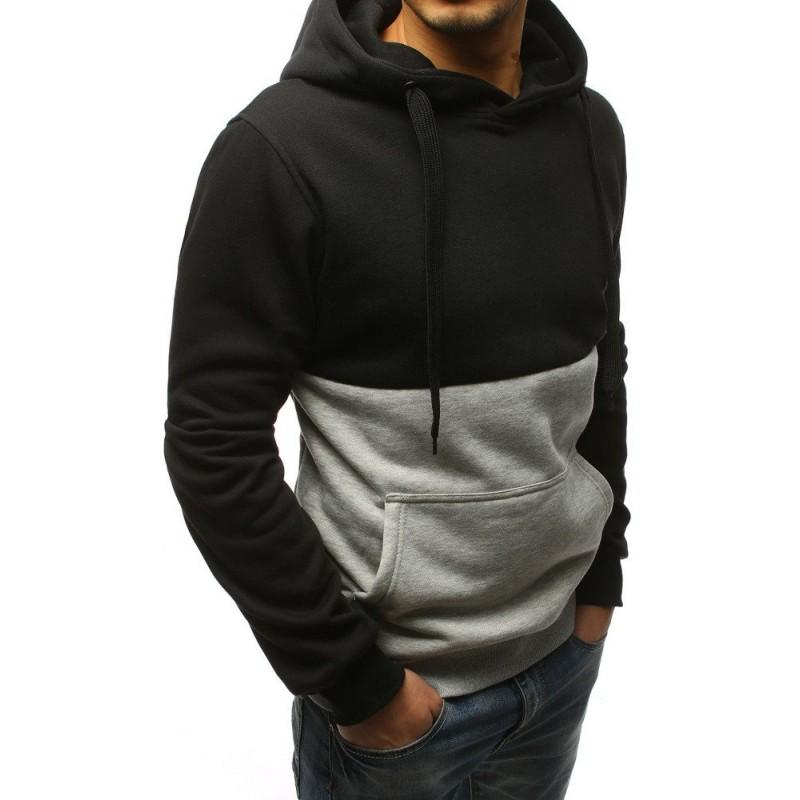41799c951683 Pohodlná pánská černo šedá mikina s kapucí