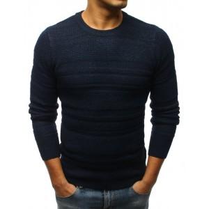 Tmavě modrý pánský svetr s kulatým výstřihem