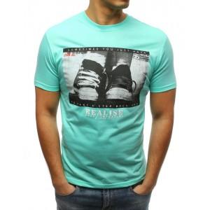 Pánské triko v zelené barvě s potiskem bot