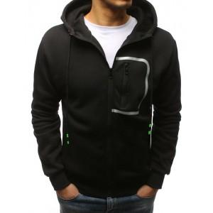 Černá pánská mikina s kapucí se zapínáním na zip