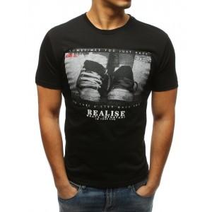Pánské triko v černé barvě se stylovou potiskem