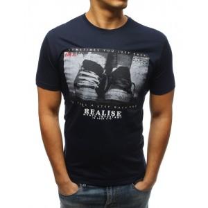 Modré pánské tričko s potiskem a krátkým rukávem