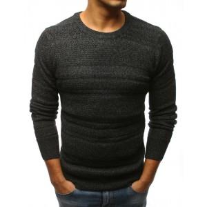 Moderní pánský pletený svetr černé barvy