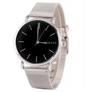 Nadčasové dámské hodinky se stříbrným kovovým páskem