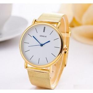 Luxusní dámské zlaté hodinky s designovými modrými ručičkami