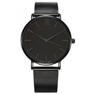 Trendy černé dámské hodinky s černým kovovým páskem