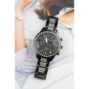 Stylové dámské hodinky Geneva se zirkony a černým ciferníkem