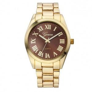Elegantní dámské kovové zlaté hodinky s římskými číslicemi