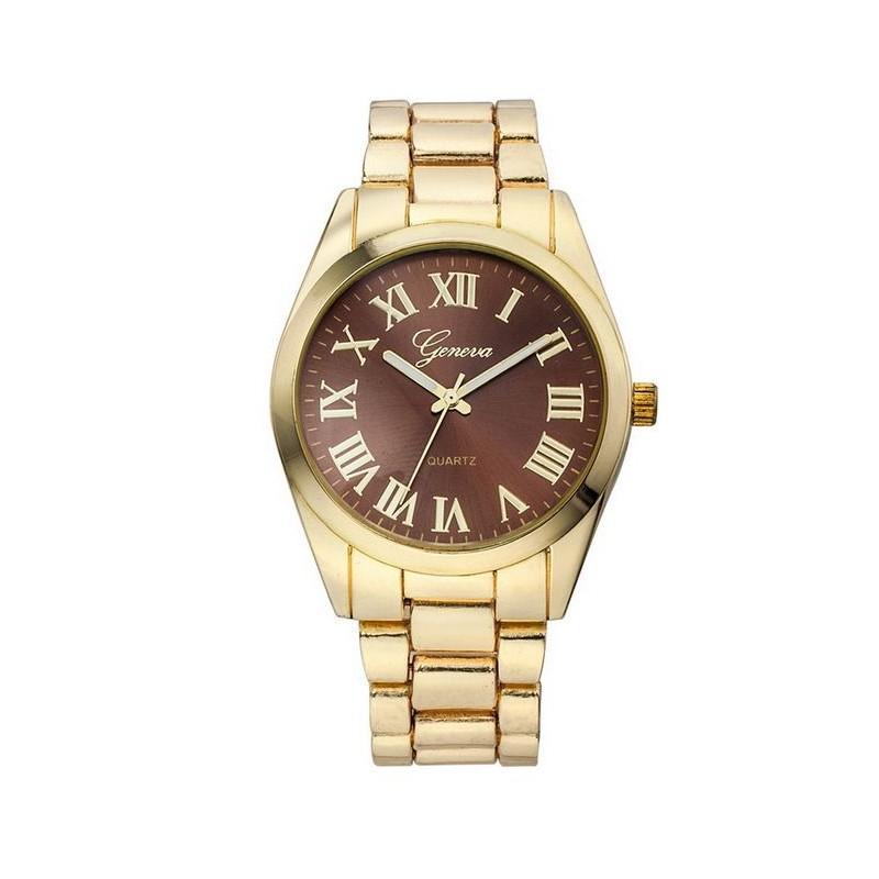 73e01bd2f28 Elegantní dámské kovové zlaté hodinky s římskými číslicemi