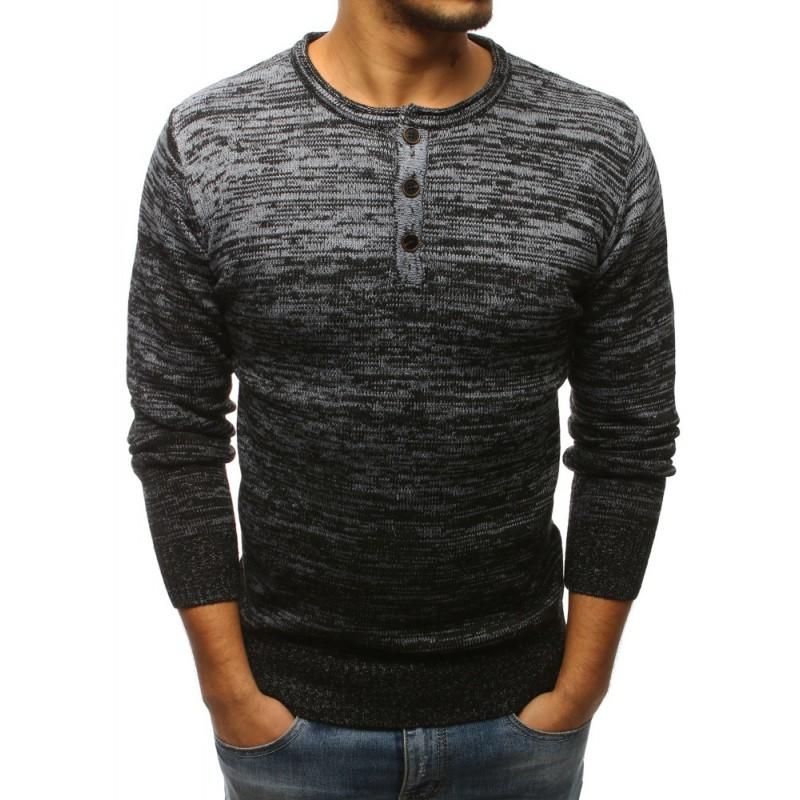 Pánský svetr černé barvy s kulatým výstřihem a knoflíky 7618eff0aa