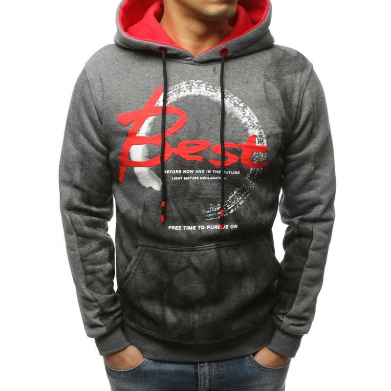 Stylová pánská mikina s přední kapsou a červenou kapucí 03398c8cff