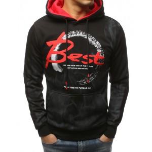 BEST černá pánská mikina s kapucí a červenými detaily