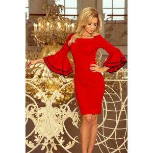 Červené krátké dámské šaty se španělskými volány na rukávech