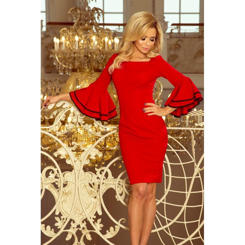8288590ad5db Červené krátké dámské šaty se španělskými volány na rukávech