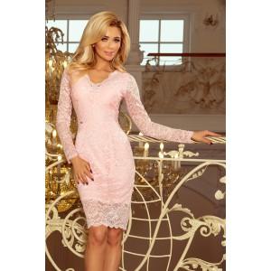 Pastelově růžové dámské krajkové šaty a dlouhým rukávem
