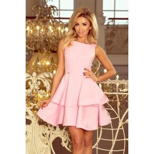 Pastelově růžové elegantní šaty s volánovou sukní
