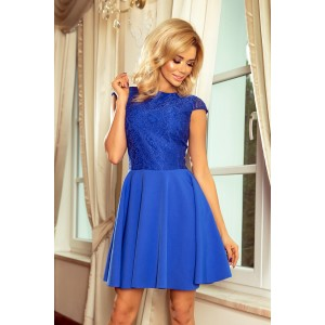 Modré krátké šaty dámský s krajkovou vrchní částí