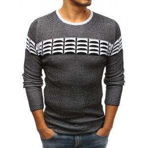 Pánský pletený svetr přes hlavu bílé barvy