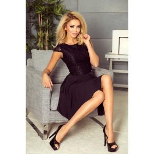 Společenské černé krátké šaty s krajkovým horním dílem