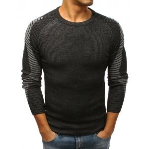 Černý trendový pánský svetr přes hlavu