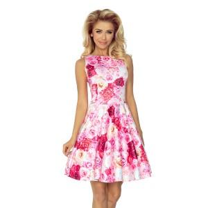 Elegantní dámské šaty s růžičkovou motivem bez rukávů
