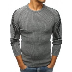 Elegantní pletený pánský svetr šedé barvy