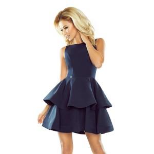 Elegantní dámské tmavě modré šaty s dvojitými volány