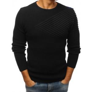 Moderní pánský svetr černé barvy s kulatým výstřihem