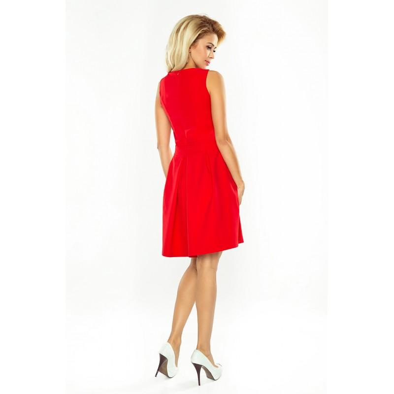 ac8ee7e60b60 Červené krátké společenské šaty s kapsami