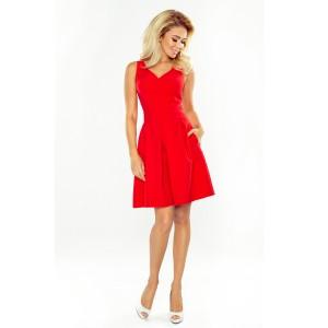 Červené krátké společenské šaty s kapsami