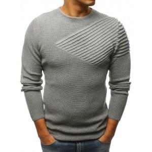 Šedý pletený pánský svetr přes hlavu