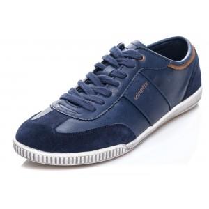 Tkaničkové pánské boty modré barvy s bílou podrážkou a semišovou špičkou
